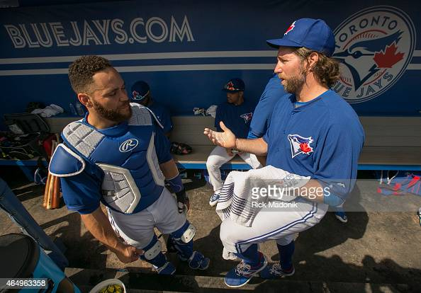 DUNEDIN MARCH 2 Catcher Russell Martin and pitcher RA Dickey discus some points prior to the first pitch Toronto Blue Jays play an intra squad game...