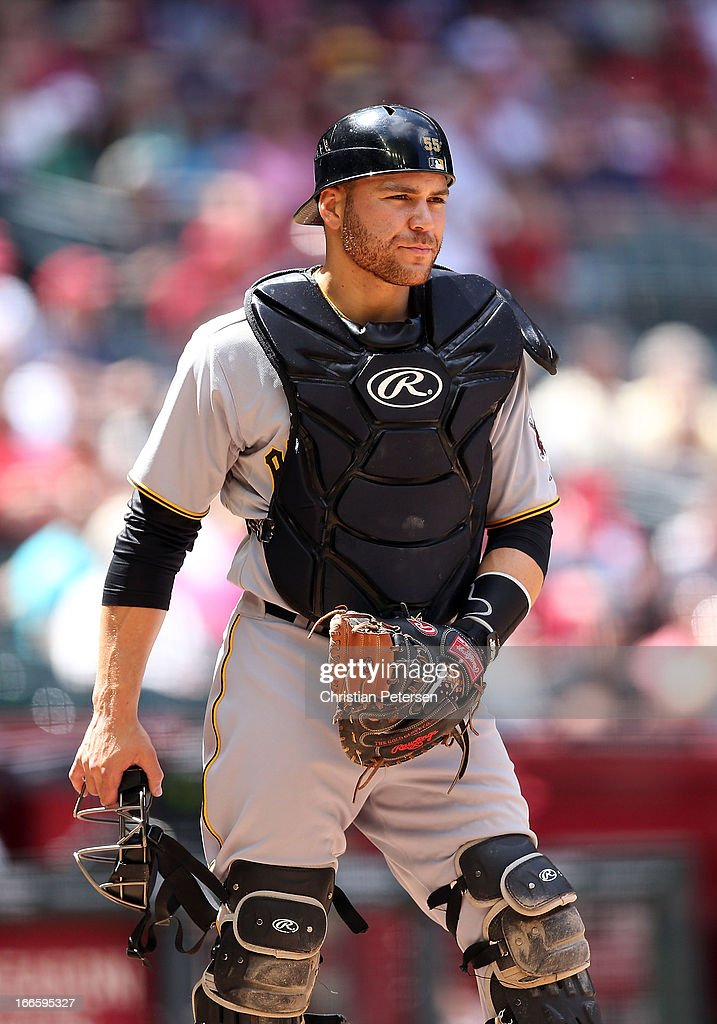 Catcher <a gi-track='captionPersonalityLinkClicked' href=/galleries/search?phrase=Russell+Martin+-+Baseball+Player&family=editorial&specificpeople=13764024 ng-click='$event.stopPropagation()'>Russell Martin</a> #55 of the Pittsburgh Pirates during the MLB game against the Arizona Diamondbacks at Chase Field on April 10, 2013 in Phoenix, Arizona. The Diamondbacks defeated the Pirates 10-2.