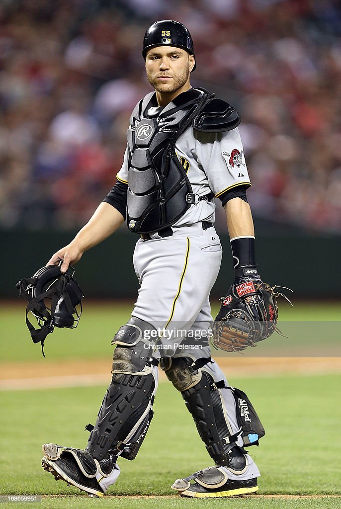 Catcher <a gi-track='captionPersonalityLinkClicked' href=/galleries/search?phrase=Russell+Martin+-+Baseball+Player&family=editorial&specificpeople=13764024 ng-click='$event.stopPropagation()'>Russell Martin</a> #55 of the Pittsburgh Pirates during the MLB game against the Arizona Diamondbacks at Chase Field on April 9, 2013 in Phoenix, Arizona.