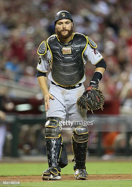 Catcher Russell Martin of the Pittsburgh Pirates in action during the MLB game against the Arizona Diamondbacks at Chase Field on August 2 2014 in...