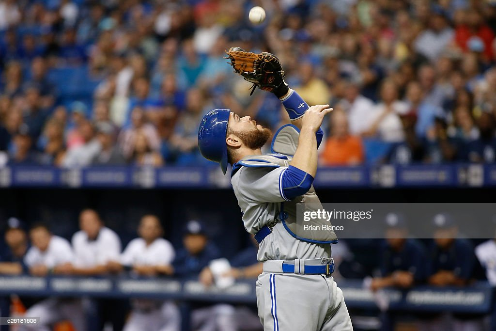 Catcher Russell Martin #55 of the Toronto Blue Jays hauls in the pop foul by Steven Souza Jr. of the Tampa Bay Rays to end the first inning of a game on April 29, 2016 at Tropicana Field in St. Petersburg, Florida.