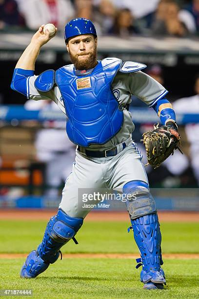 Catcher Russell Martin of the Toronto Blue Jays throws out Lonnie Chisenhall of the Cleveland Indians during the seventh inning at Progressive Field...