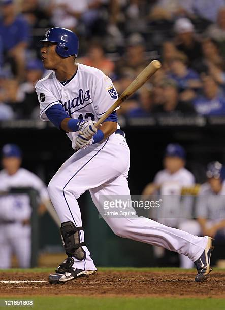 Catcher Salvador Perez of the Kansas City Royals bats during the game against the New York Yankees at Kauffman Stadium on August 16 2011 in Kansas...