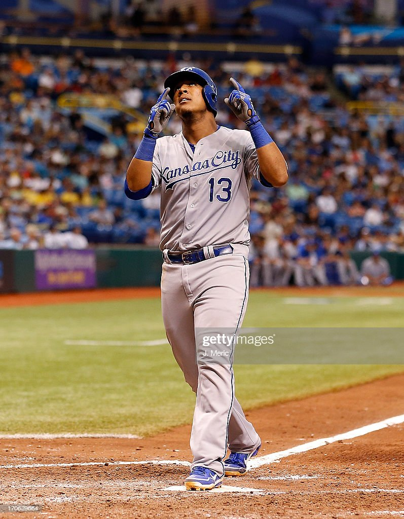 Catcher Salvador Perez #13 of the Kansas City Royals celebrates his home run against the Tampa Bay Rays during the game at Tropicana Field on June 15, 2013 in St. Petersburg, Florida.