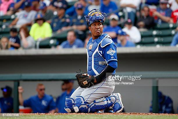 Catcher Salvador Perez of the Kansas City Royals during the spring training game against the Chicago Cubs at Sloan Park on March 7 2016 in Mesa...