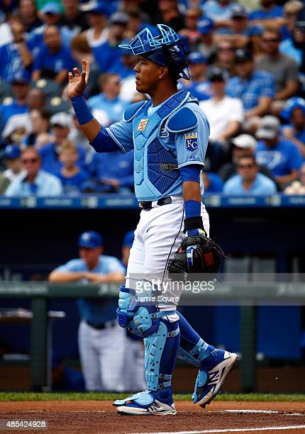 Catcher Salvador Perez of the Kansas City Royals in action during the game against the Baltimore Orioles at Kauffman Stadium on August 27 2015 in...