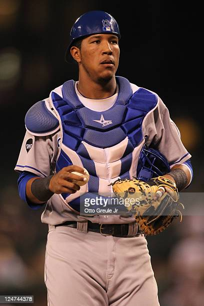Catcher Salvador Perez of the Kansas City Royals looks on against the Seattle Mariners at Safeco Field on September 8 2011 in Seattle Washington