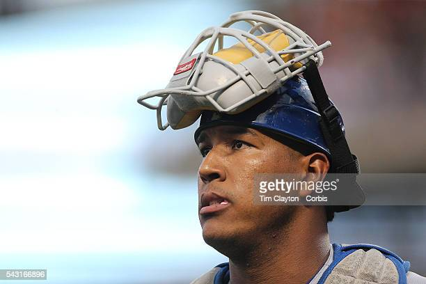 Catcher Salvador Perez of the Kansas City Royals returns to the dugout while catching during the Kansas City Royals Vs New York Mets regular season...