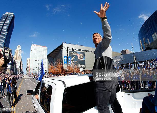 Catcher Salvador Perez of the Kansas City Royals waves to the crowd during a parade and celebration in honor of the Royals' World Series win on...