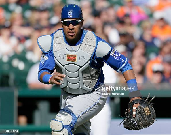Catcher Salvador Perez of the Kansas City Royals wears RIP JF 16 in memoriam of pitcher Jose Fernandez of the Miami Marlins who was killed early...