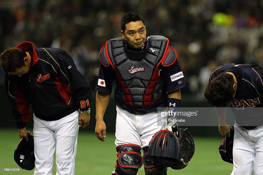 Catcher Shinnosuke Abe #10 of Japan celerates after winning during the World Baseball Classic Second Round Pool 1 game between Japan and the Netherlands at Tokyo Dome on March 10, 2013 in Tokyo, Japan.
