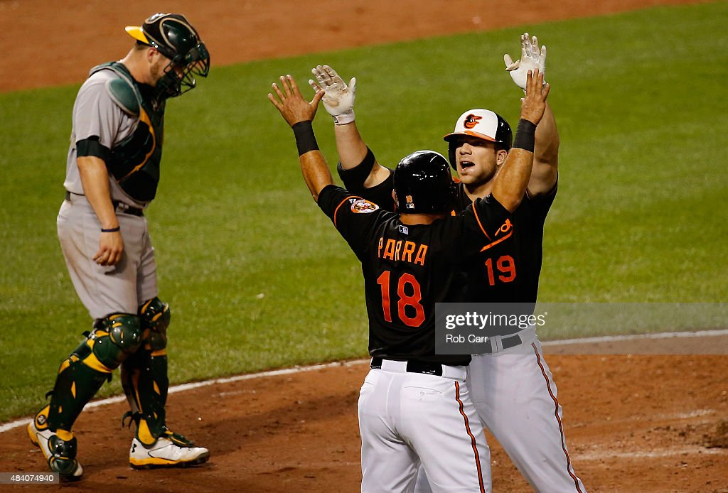 Catcher <a gi-track='captionPersonalityLinkClicked' href=/galleries/search?phrase=Stephen+Vogt&family=editorial&specificpeople=7511888 ng-click='$event.stopPropagation()'>Stephen Vogt</a> #21 of the Oakland Athletics looks on as <a gi-track='captionPersonalityLinkClicked' href=/galleries/search?phrase=Gerardo+Parra&family=editorial&specificpeople=4959447 ng-click='$event.stopPropagation()'>Gerardo Parra</a> #18 celebrates with <a gi-track='captionPersonalityLinkClicked' href=/galleries/search?phrase=Chris+Davis+-+Jugador+de+b%C3%A9isbol+estadounidense&family=editorial&specificpeople=7129264 ng-click='$event.stopPropagation()'>Chris Davis</a> #19 of the Baltimore Orioles after Davis hit a two RBI home run in the seventh inning at Oriole Park at Camden Yards on August 14, 2015 in Baltimore, Maryland.