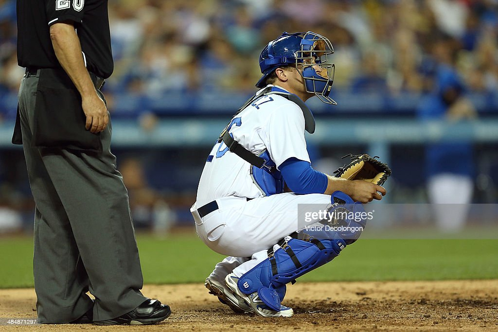Catcher Tim Federowicz #26 of the Los Angeles Dodgers looks on during the MLB game against the Detroit Tigers at Dodger Stadium on April 8, 2014 in Los Angeles, California. The Dodgers defeated the Tigers 3-2 in 10 innings.