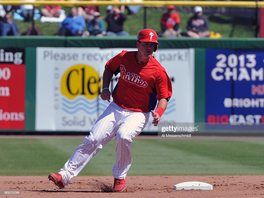 Catcher Tommy Joseph #73 of the Philadelphia Phillies rounds second base against the Washington Nationals March 6, 2013 at Bright House Field in Clearwater, Florida.