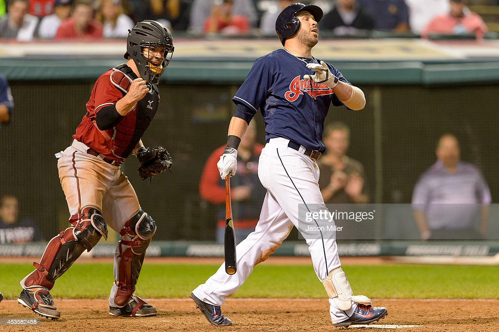 Catcher Tuffy Gosewisch #9 of the Arizona Diamondbacks celebrates as Jason Kipnis #22 of the Cleveland Indians reacts after Kipnis struck out to end the game during the twelfth inning at Progressive Field during the second game of a double header on August 13, 2014 in Cleveland, Ohio.