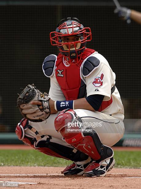 Catcher Victor Martinez of the Cleveland Indians looks towards the Cleveland dugout during a game with the New York Yankees on Sunday April 27 2008...