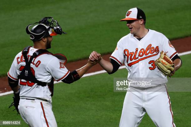 Catcher Welington Castillo of the Baltimore Orioles and closer Brad Brach of the Baltimore Orioles celebrate after the Orioles defeated the Cleveland...