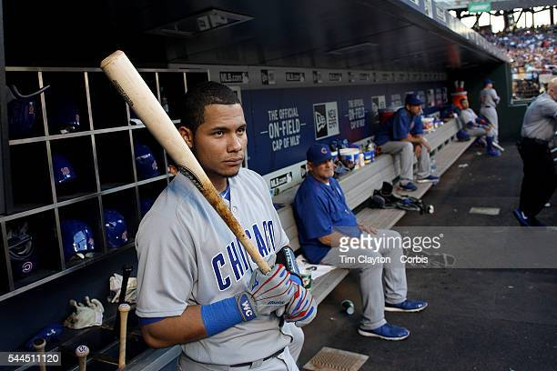 Catcher Willson Contreras of the Chicago Cubs in the dugout preparing to bat during the Chicago Cubs Vs New York Mets regular season MLB game at Citi...