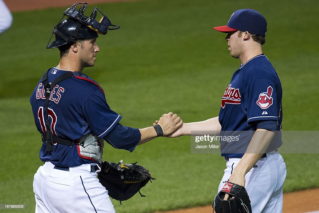 Catcher <a gi-track='captionPersonalityLinkClicked' href=/galleries/search?phrase=Yan+Gomes&family=editorial&specificpeople=9004037 ng-click='$event.stopPropagation()'>Yan Gomes</a> #10 celebrates with closer Cody Allen #37 of the Cleveland Indians after the Indians defeated the Philadelphia Phillies at Progressive Field on May 1, 2013 in Cleveland, Ohio. The Indians defeated the Phillies 6-0.