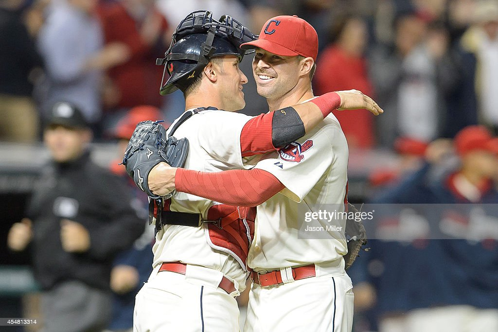 Catcher Yan Gomes #10 celebrates with starting pitcher Corey Kluber #28 of the Cleveland Indians after the Indians defeated the Chicago White Sox at Progressive Field on September 6, 2014 in Cleveland, Ohio. The Indians defeated the White Sox 3-1.