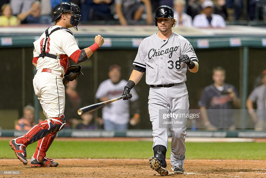 Catcher Yan Gomes #10 of the Cleveland Indians celebrates after Andy Wilkins #38 of the Chicago White Sox strikes out to end the game at Progressive Field on September 6, 2014 in Cleveland, Ohio. The Indians defeated the White Sox 3-1.