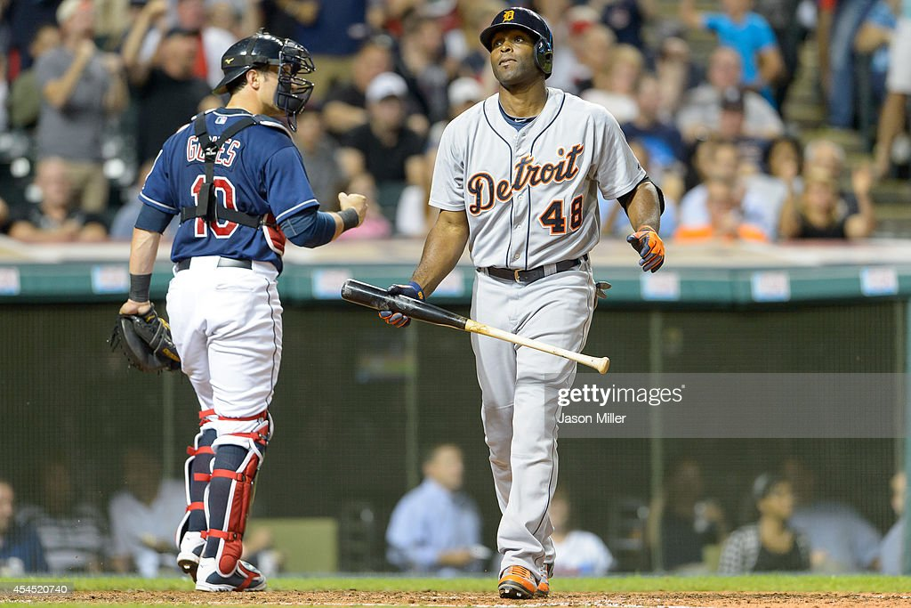 Catcher <a gi-track='captionPersonalityLinkClicked' href=/galleries/search?phrase=Yan+Gomes&family=editorial&specificpeople=9004037 ng-click='$event.stopPropagation()'>Yan Gomes</a> #10 of the Cleveland Indians celebrates as <a gi-track='captionPersonalityLinkClicked' href=/galleries/search?phrase=Torii+Hunter&family=editorial&specificpeople=183408 ng-click='$event.stopPropagation()'>Torii Hunter</a> #48 of the Detroit Tigers reacts after striking out to end the top of the fourth inning at Progressive Field on September 2, 2014 in Cleveland, Ohio.