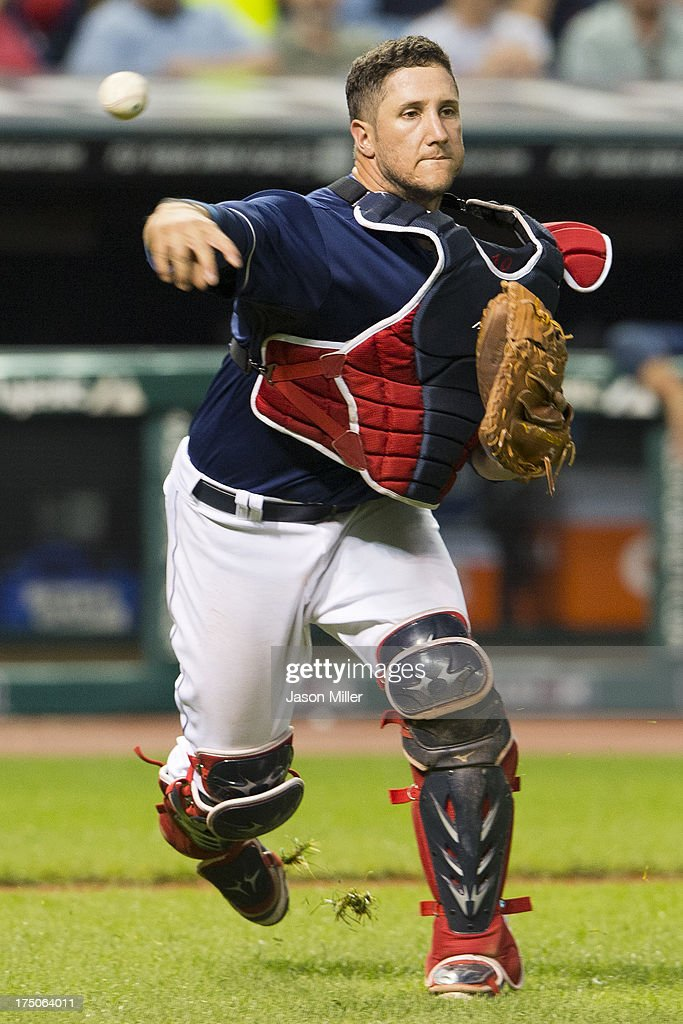Catcher <a gi-track='captionPersonalityLinkClicked' href=/galleries/search?phrase=Yan+Gomes&family=editorial&specificpeople=9004037 ng-click='$event.stopPropagation()'>Yan Gomes</a> #10 of the Cleveland Indians throws out Josh Phegley #36 of the Chicago White Sox during the seventh inning at Progressive Field on July 30, 2013 in Cleveland, Ohio.