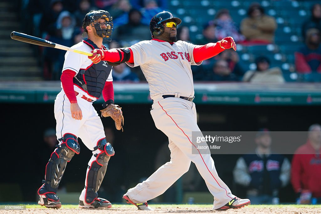 Catcher Yan Gomes #10 of the Cleveland Indians watches as David Ortiz #34 of the Boston Red Sox hits a two-run home run during the ninth inning of the opening day game at Progressive Field on April 5, 2016 in Cleveland, Ohio.