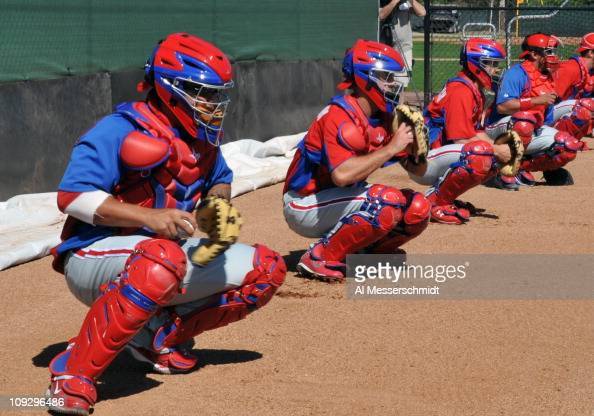 Catchers of the Philadelphia Phillies line up during a spring training workout February 19 2011 the Carpenter Complex at Bright House Field in...