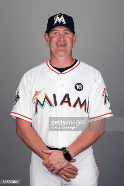 Catching Coach Brian Schneider of the Miami Marlins poses during Photo Day on Saturday February 18 2017 at Roger Dean Stadium in Jupiter Florida