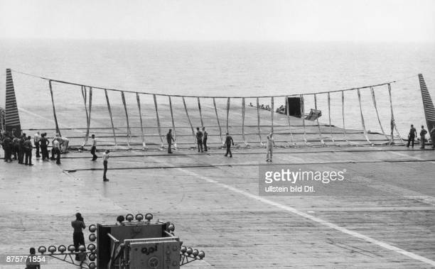 Catching net set up for landing aircrafts on the aircraft carrier USS Hancock Claude Jacoby