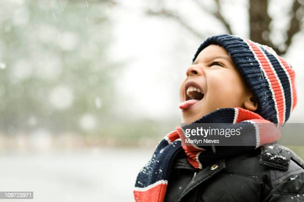 catching snow