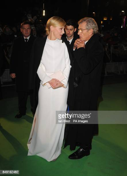 Cate Blanchett abd SIr Ian McKellen arriving for the UK Premiere of The Hobbit An Unexpected Journey at the Odeon Leicester Square London