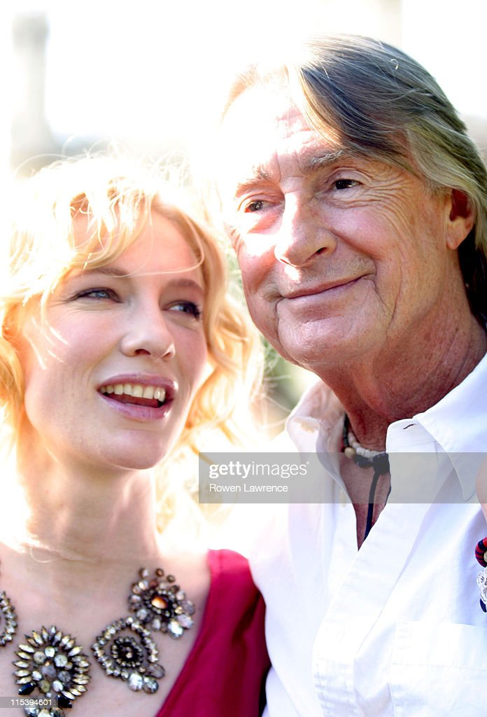 Cate Blanchett and director Joel Schumacher during Cate Blanchett Promotes Her Latest Movie 'Veronica Guerin' in Cambridge Great Britain