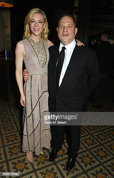 Cate Blanchett and Harvey Weinstein attend Harvey Weinstein's preBAFTA dinner in partnership with Burberry and GREY GOOSE at Little House Mayfair on...