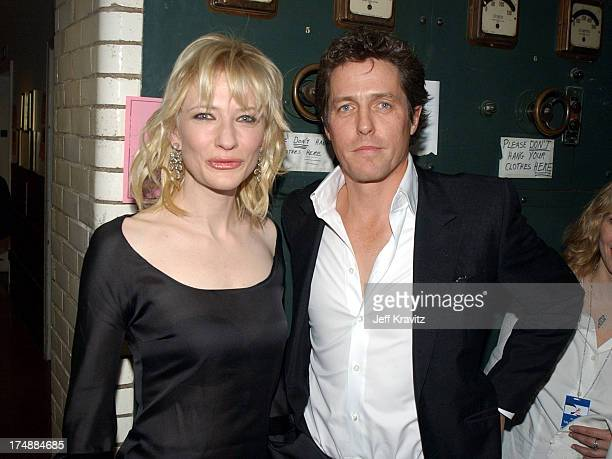 Cate Blanchett and Hugh Grant during 2002 VH1 Vogue Fashion Awards Audience Backstage at Radio Cit y Music Hall in New York City New York United...