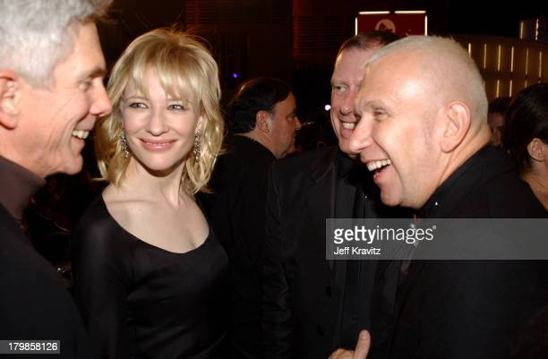 Cate Blanchett and Jean Paul Gaultier during 2002 VH1 Vogue Fashion Awards Audience Backstage at Radio Cit y Music Hall in New York City New York...