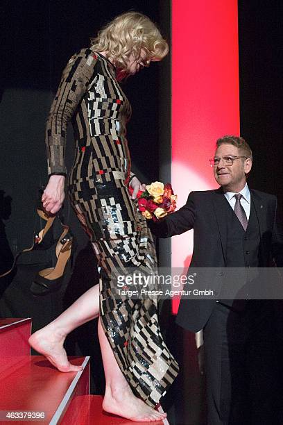 Cate Blanchett and Kenneth Branagh attend the 'Cinderella' premiere during the 65th Berlinale International Film Festival at Berlinale Palace on...