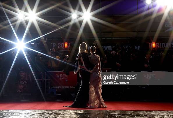Cate Blanchett and Rooney Mara attend the 'Carol' America Express Gala during the BFI London Film Festival at the Odeon Leicester Square on October...