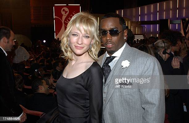 Cate Blanchett and Sean 'P Diddy' Combs during 2002 VH1 Vogue Fashion Awards Audience Backstage at Radio Cit y Music Hall in New York City New York...