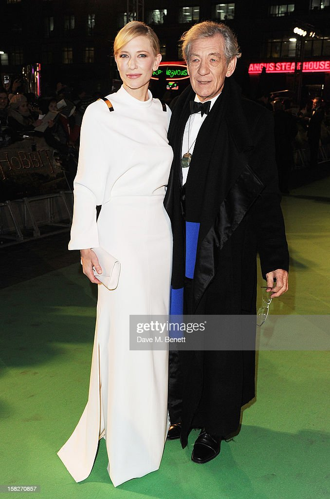 Cate Blanchett and Sir Ian McKellen attend the Royal Film Performance of 'The Hobbit: An Unexpected Journey' at Odeon Leicester Square on December 12, 2012 in London, England.