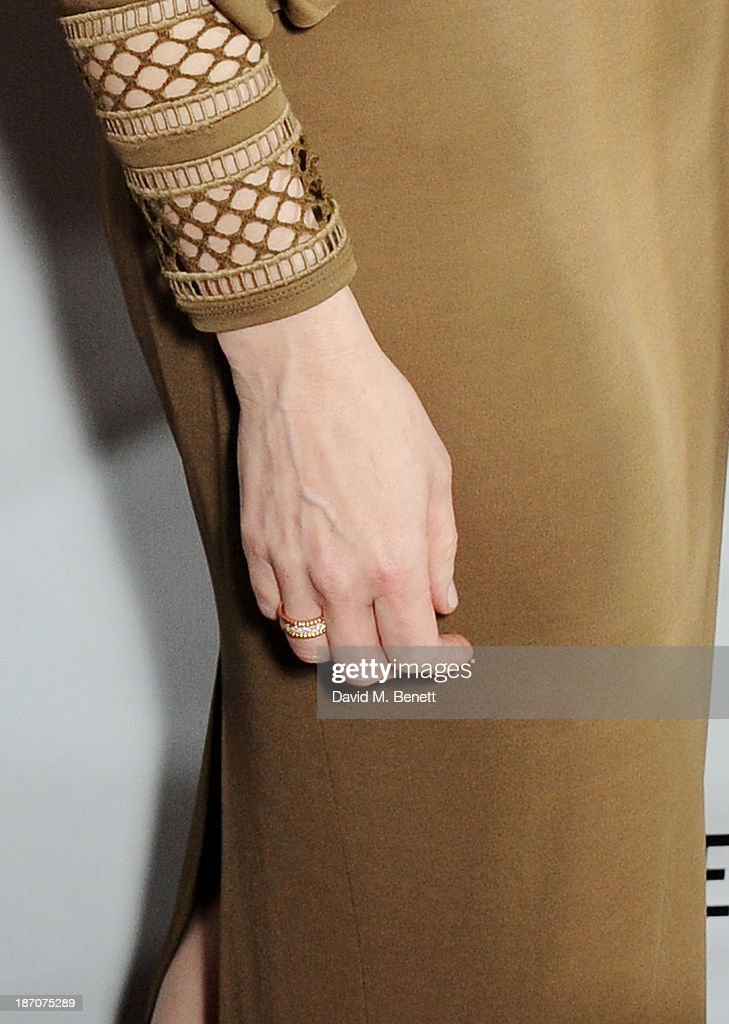 Cate Blanchett (ring detail) arrives at the Harper's Bazaar Women of the Year awards at Claridge's Hotel on November 5, 2013 in London, England.
