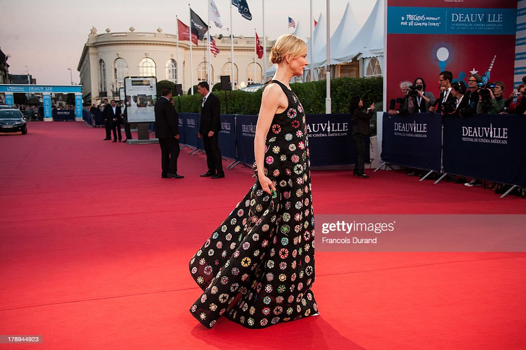 Cate Blanchett arrives at the premiere of the movie 'Blue Jasmine' during the 39th Deauville American film festival on August 31, 2013 in Deauville, France.