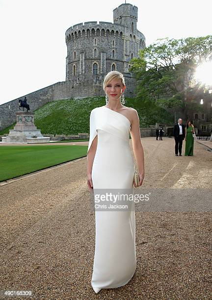 Cate Blanchett arrives for a dinner to celebrate the work of The Royal Marsden hosted by the Duke of Cambridge at Windsor Castle on May 13 2014 in...
