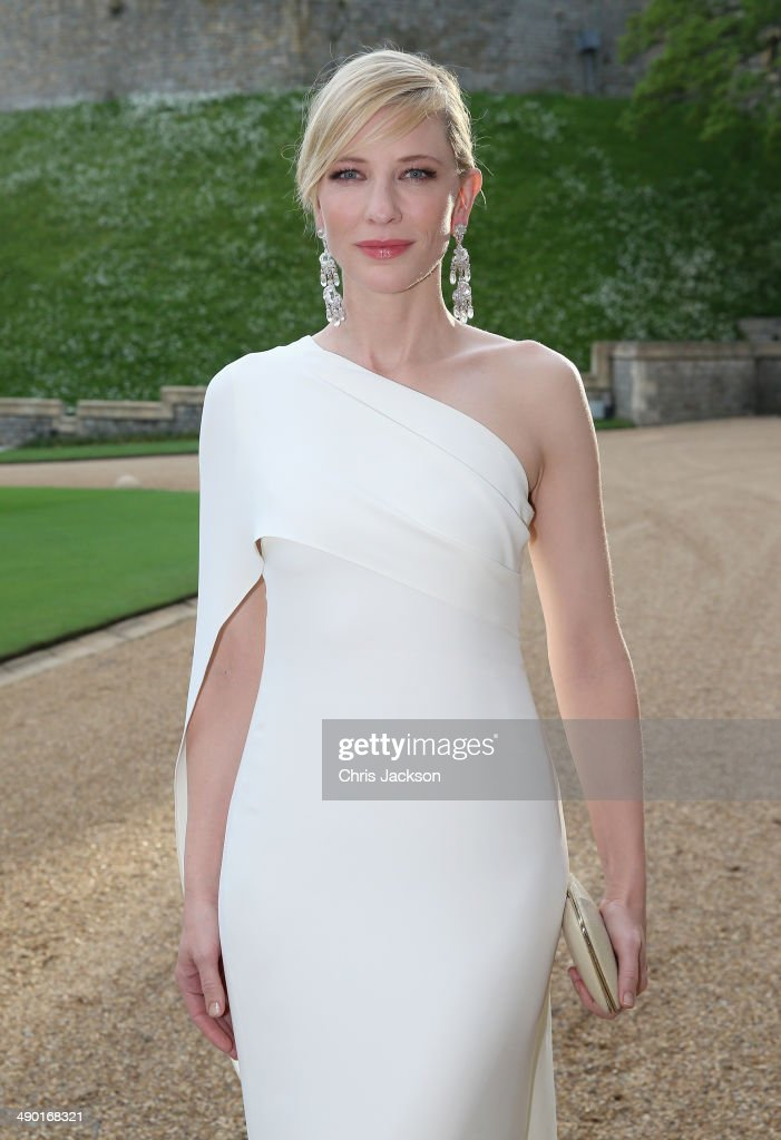 <a gi-track='captionPersonalityLinkClicked' href=/galleries/search?phrase=Cate+Blanchett&family=editorial&specificpeople=201621 ng-click='$event.stopPropagation()'>Cate Blanchett</a> arrives for a dinner to celebrate the work of The Royal Marsden hosted by the Duke of Cambridge at Windsor Castle on May 13, 2014 in Windsor, England.