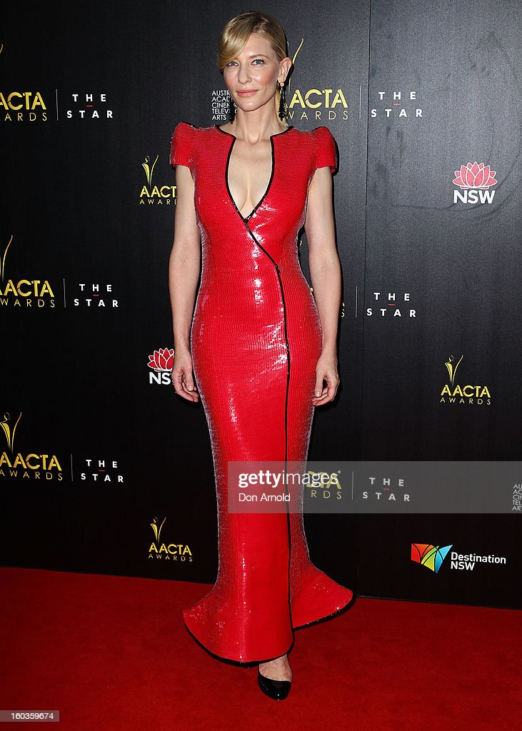 <a gi-track='captionPersonalityLinkClicked' href=/galleries/search?phrase=Cate+Blanchett&family=editorial&specificpeople=201621 ng-click='$event.stopPropagation()'>Cate Blanchett</a> arrives for the 2nd Annual AACTA Awards at The Star on January 30, 2013 in Sydney, Australia.