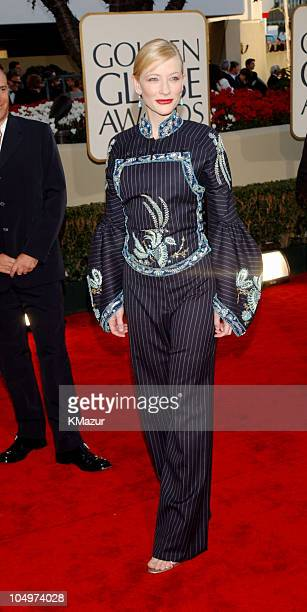 Cate Blanchett arrives for the Golden Globe Awards at the Beverly Hilton Hotel in Beverly Hills California January 20 2002