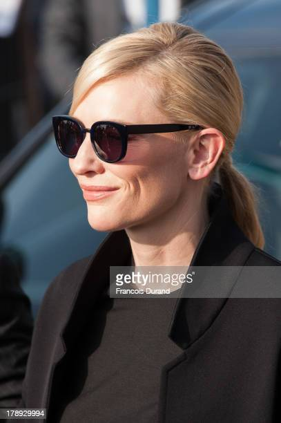 Cate Blanchett attends a photocall next to the beach closet dedicated to her on the Promenade des Planches during the 39th Deauville American Film...