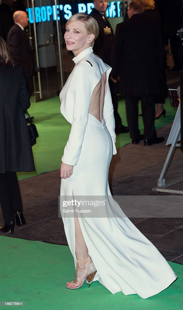 Cate Blanchett attends a royal film performance of 'The Hobbit: An Unexpected Journey' at The Empire Leicester Square on December 12, 2012 in London, England.