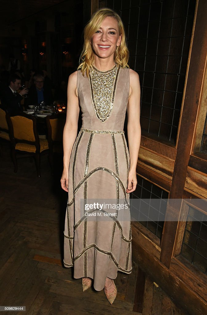 <a gi-track='captionPersonalityLinkClicked' href=/galleries/search?phrase=Cate+Blanchett&family=editorial&specificpeople=201621 ng-click='$event.stopPropagation()'>Cate Blanchett</a> attends Harvey Weinstein's pre-BAFTA dinner in partnership with Burberry and GREY GOOSE at Little House Mayfair on February 12, 2016 in London, England.